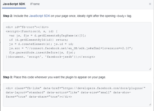 Facebook Like Button Code Snipped